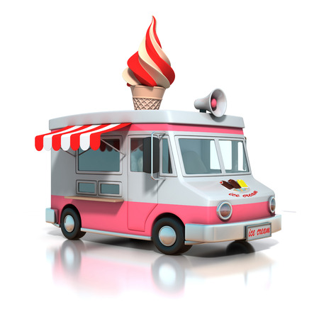 white truck: ice cream truck 3d illustration Stock Photo