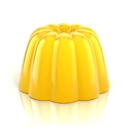 노란색 바닐라 푸딩 3D 그림 흰색으로 격리 스톡 콘텐츠