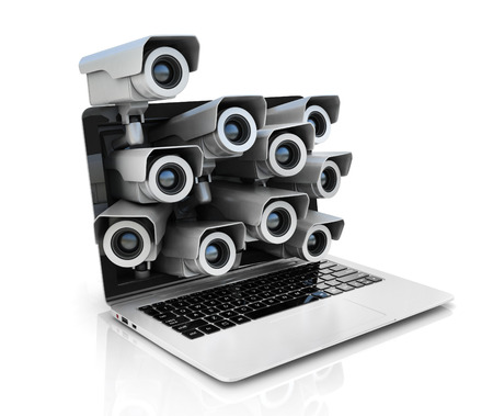 security monitoring: internet privacy 3d concept - surveillance cameras inside laptop