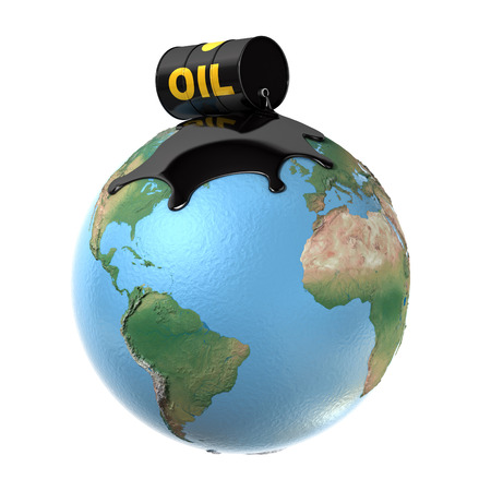 crude: oil spill over planet earth 3d illustration Stock Photo