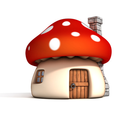 fairy toadstool: mushroom house 3d illustration