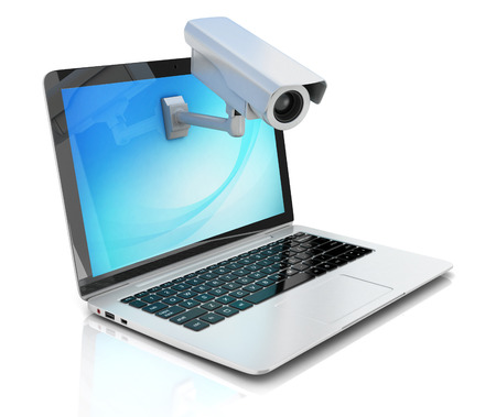 ccd camera: Internet security concept - laptop and surveillance camera