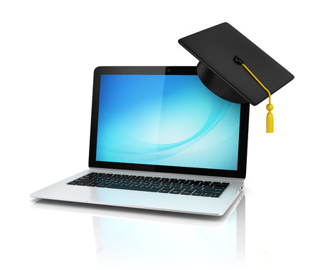 digital learning: graduation cap on laptop - e-learning 3d concept