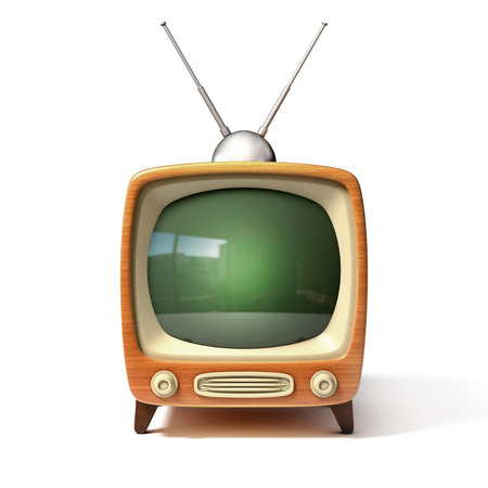 retro tv 3d illustration Stock Photo