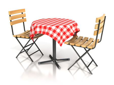dinner date: table and two chairs on white background