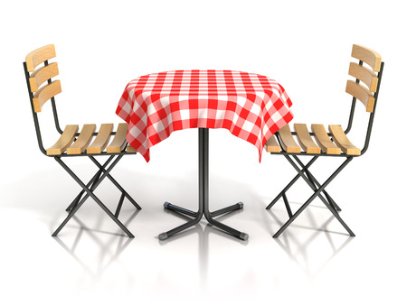 two chairs: table and two chairs on white background