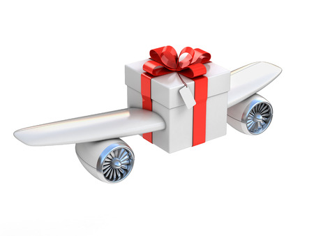 delivery box: present with wings and jet engines