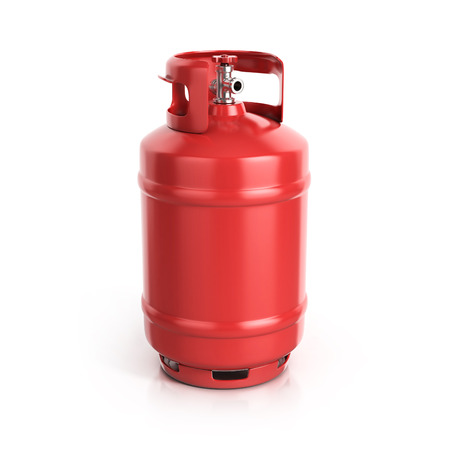 red propane cylinder with compressed gas