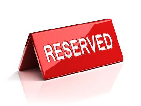 reservation: reservation sign Stock Photo