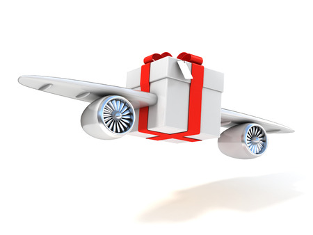 christmas mail: present with wings and jet engines