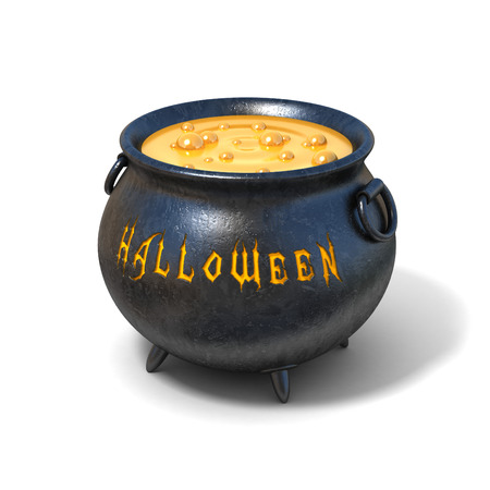 3d halloween: witches cauldron 3d illustration Stock Photo