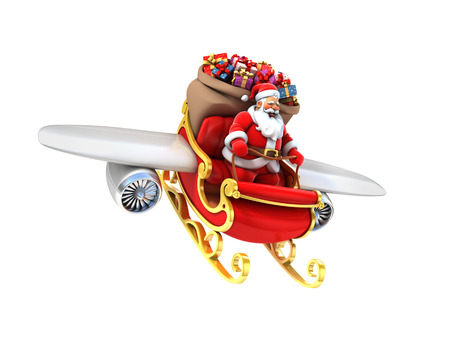 santas sack: Santa Claus on sleigh with wings and jet engines Stock Photo