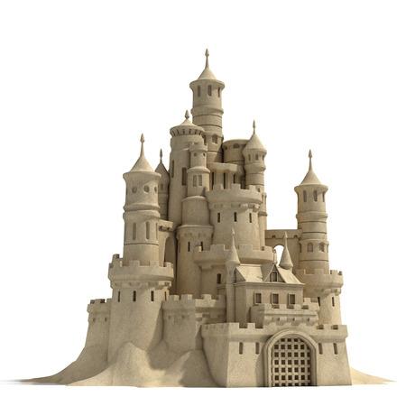 castillos: castillo de arena aislado en el fondo blanco