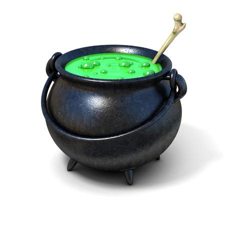witches cauldron 3d illustration Archivio Fotografico