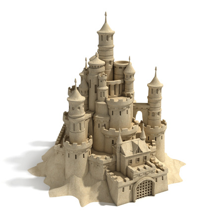 castle tower: sand castle isolated on white background