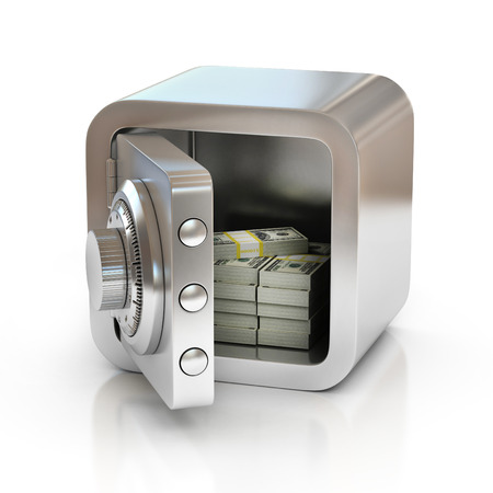combination lock: open safe full of money Stock Photo