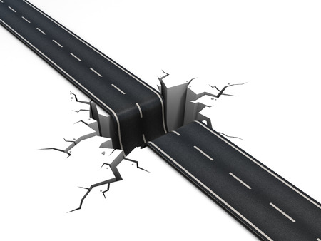 gap: hole in the middle of the road 3d illustration