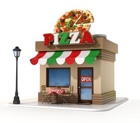 pizzeria label: pizzeria 3d illustration Stock Photo