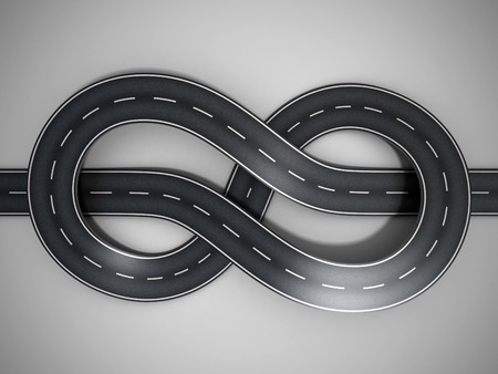 infinity road: road tied in a bungle Stock Photo
