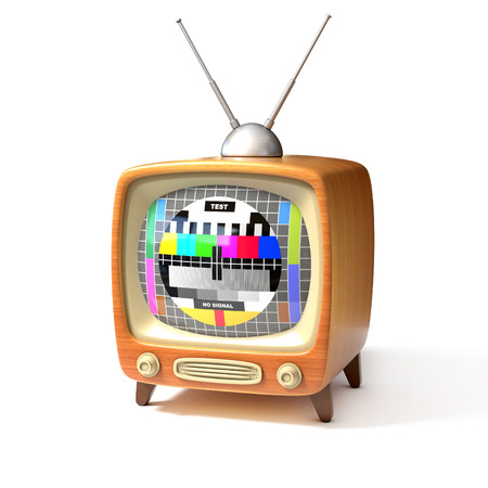 ntsc: retro tv with test screen 3d illustration Stock Photo