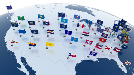 us government: Flags of the U.S. states on American continent