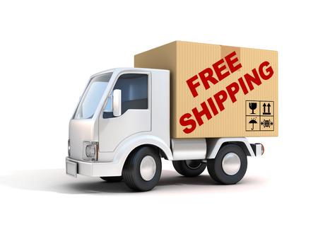 Van envío libre cargado con una caja de cartón Foto de archivo - 42256287