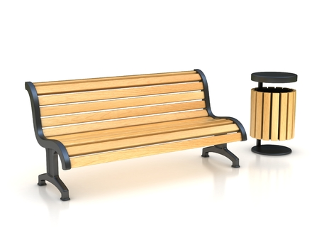 outdoor furniture: park bench and trash can 3D illustration