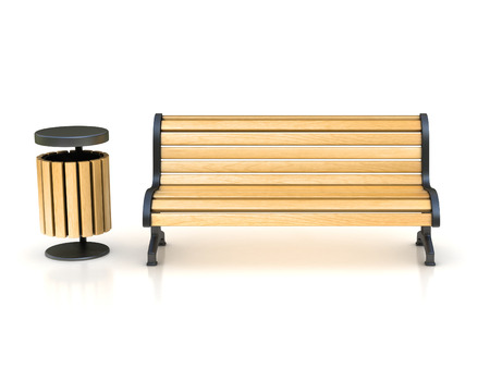 bench: park bench and trash can