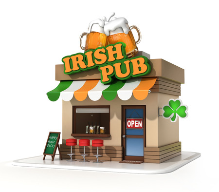 irish symbols: irish pub 3d illustration