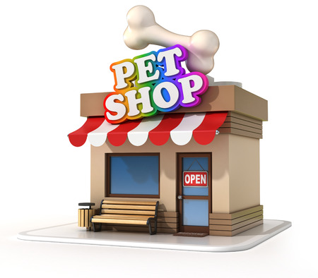 food shop: pet shop 3d illustration