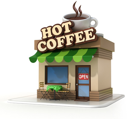 cofe: coffee shop 3d illustration
