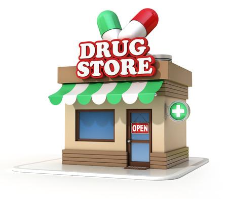 drugstore: drugstore 3d illustration Stock Photo