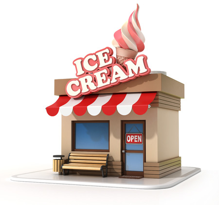 store front: ice cream store 3d illustration