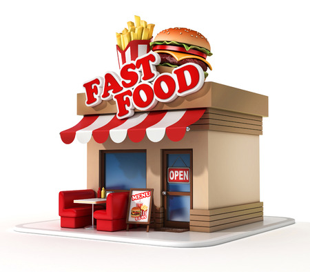 burger and fries: fast food restaurant 3d illustration