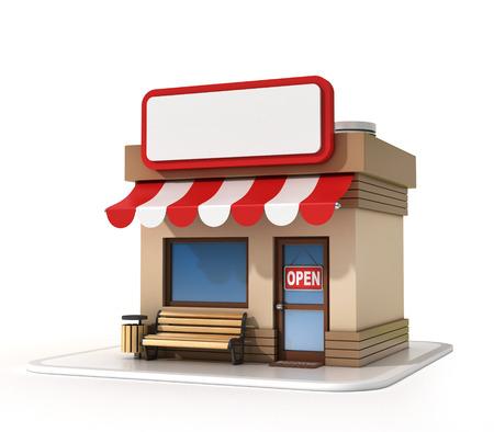 Store with copy space board Foto de archivo