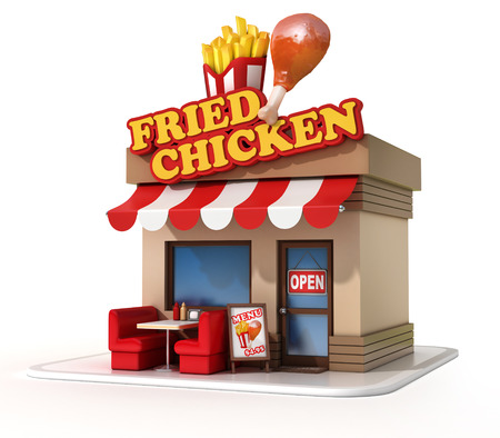 fried: fried chicken restaurant 3d illustration