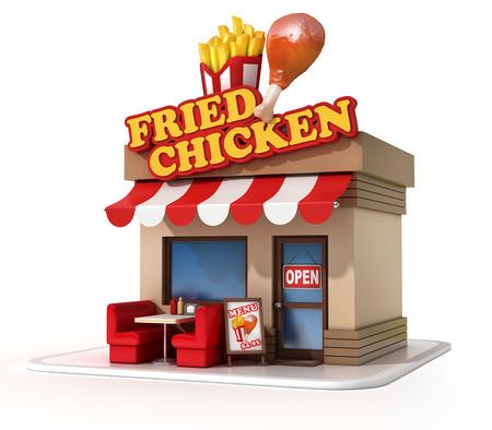 fried: fried chicken restaurant 3d illustration