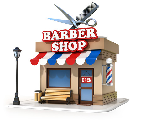 cartoon hairdresser: miniature barbershop 3d illustration