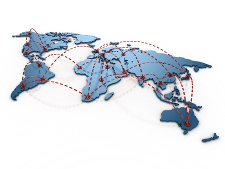 air shipping: business connections over the world 3d concept