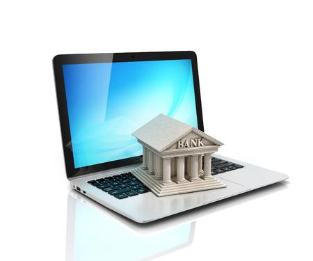 Banca electrónica, banca electrónica, ordenador portátil con 3d banco icono Foto de archivo - 42190839