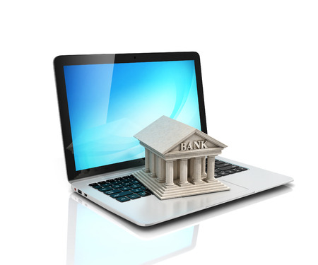 e-banking, e banking, laptop met bank 3d pictogram Stockfoto