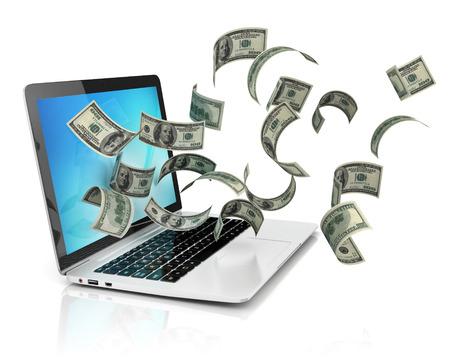 돈 버는 온라인 - 달러와 노트북 스톡 콘텐츠