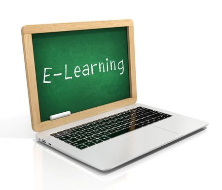 e learning 3d concept - laptop with blackboard