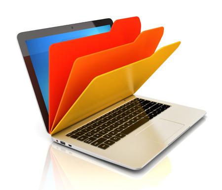 file in database - laptop and folders Banco de Imagens - 42190846