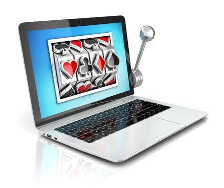fichas casino: los juegos de azar en línea 3d concepto - máquina tragaperras en el interior del ordenador portátil Foto de archivo