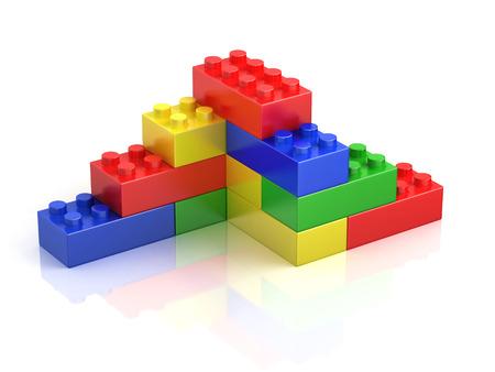 bloques de construcción de colores aislados en blanco