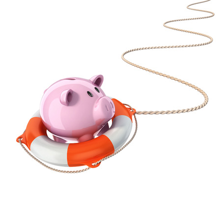 credit crunch: piggy bank with lifebuoy 3d illustration