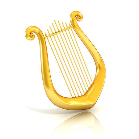 lyra: lyre 3d illustration isolated on white