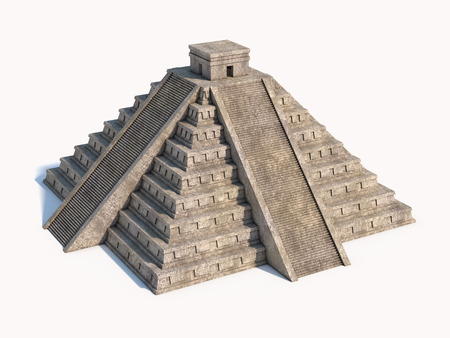 3d temple: Mayan pyramid isolated