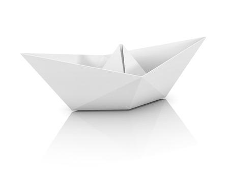 3d boat: paper boat 3d illustration Stock Photo